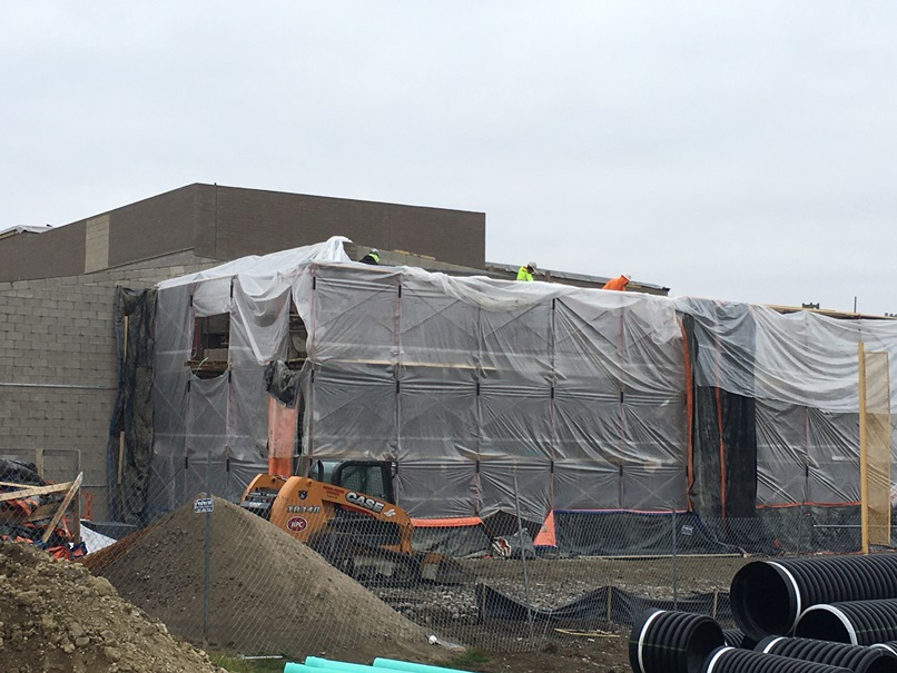Photo of the west side of the building is ready for the weather.