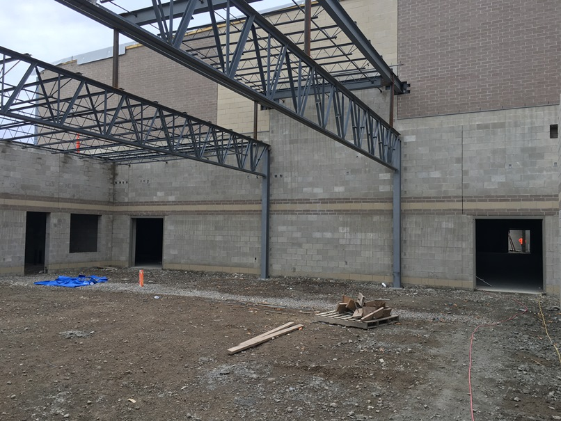 Photo of the Cafeteria wall heading into the gym.