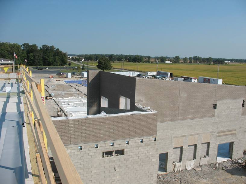 View of the cafeteria and kitchen roof from the gym roof