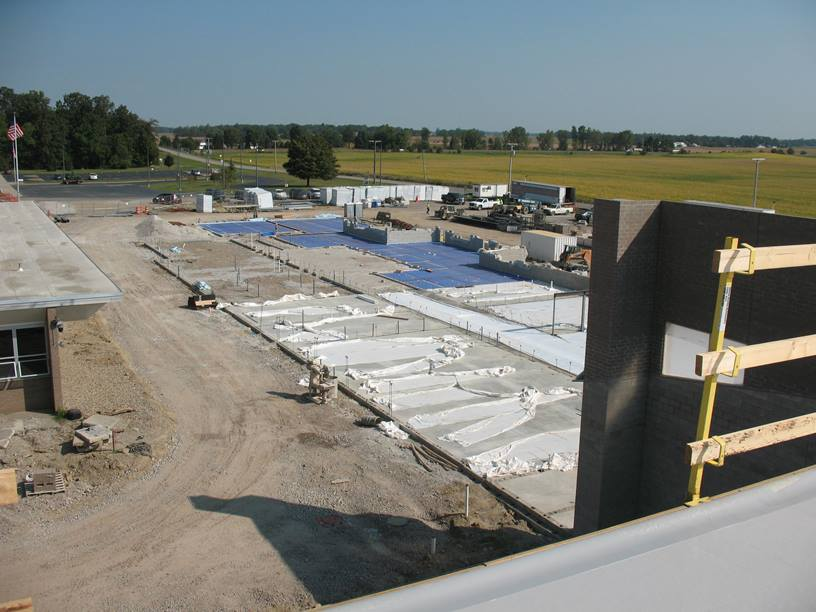View of the academic wing from the gym roof.