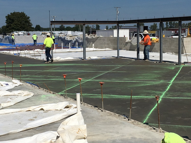 Photo of the process of getting ready to cut the concrete for hallways and extended learning areas.