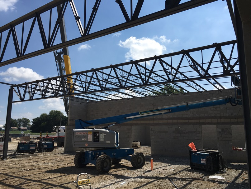 Photo of the Girder set over the new cafeteria.