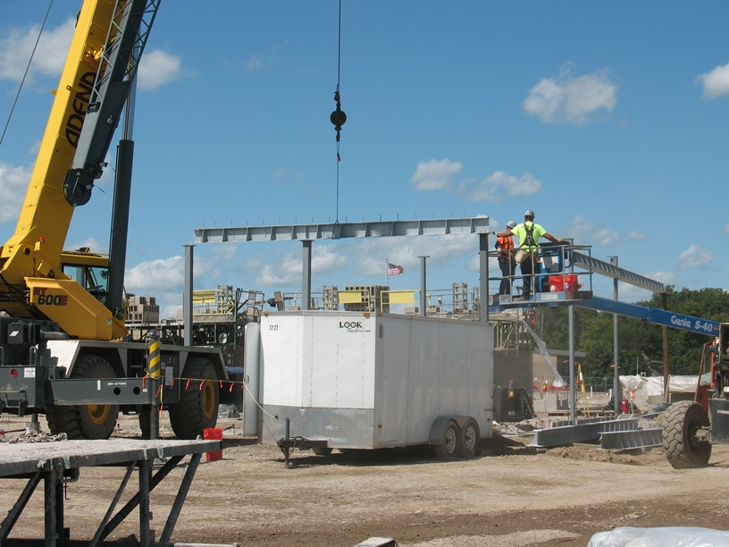 Photo of the Girders on the new front entrance of the high school.