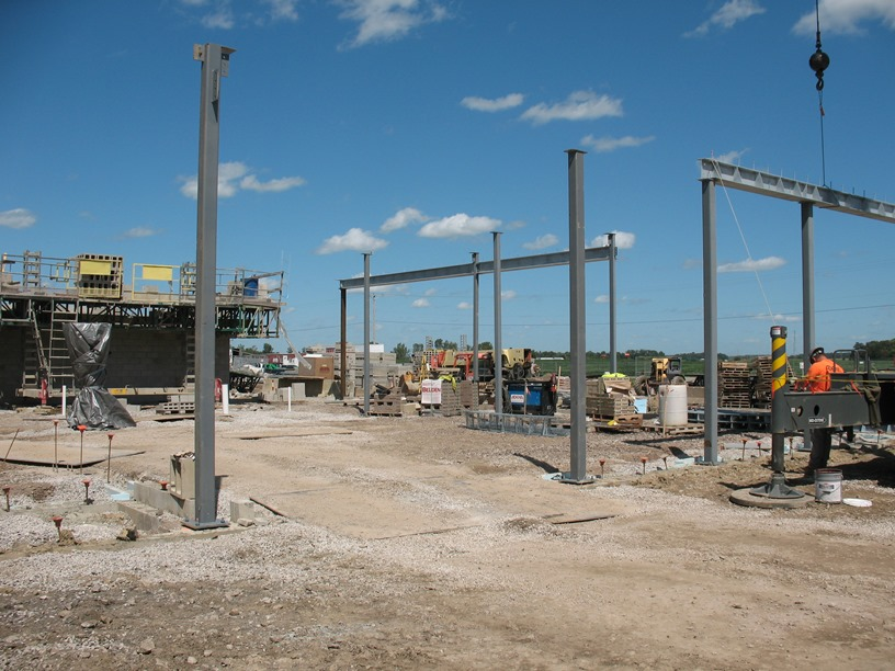 Photo of the Girders on the new high school office and front entrance.