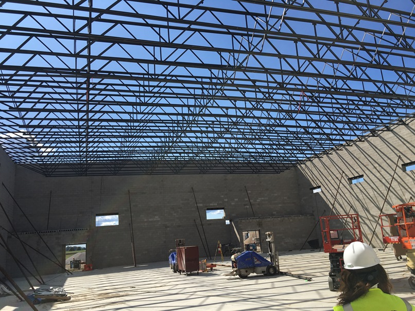 Photo of the Roof trusses in the new gym.