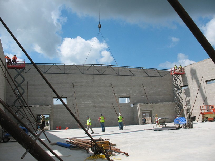 Photo of the First roof truss set.