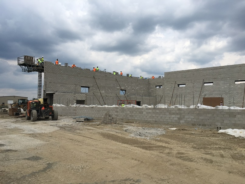 Photo of the West wall of the new gym.