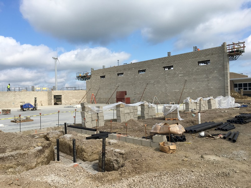 Photo of the North wall of the new gym.
