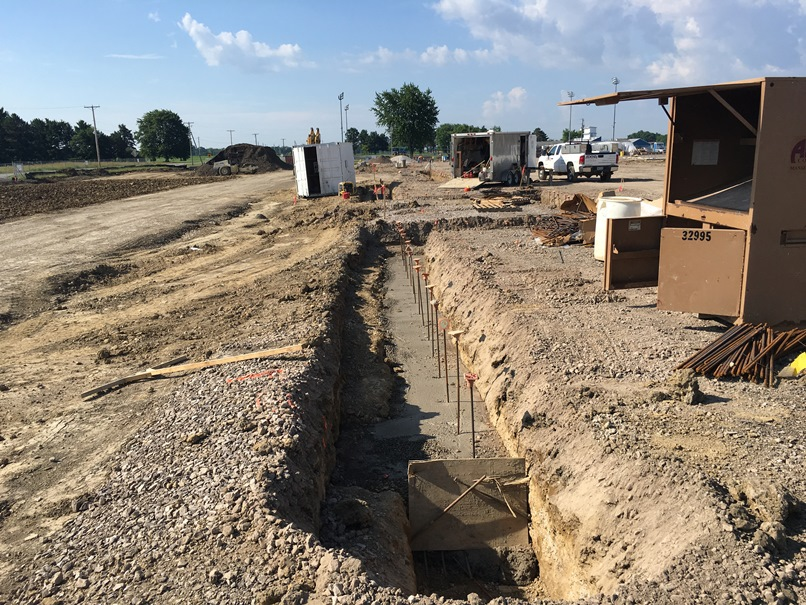 Photo of the Footers for the northeast corner of the new building.
