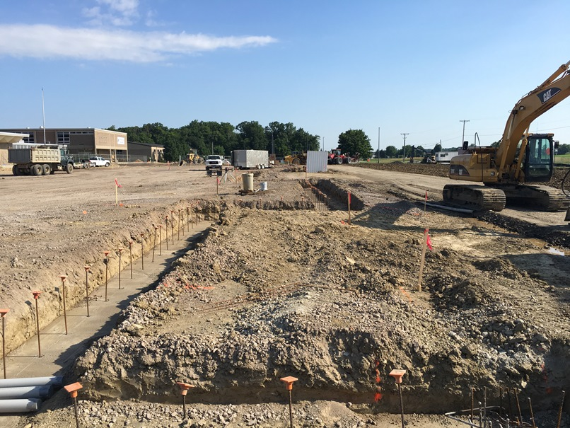 Photo of the Footers for the front entrance of the new building.