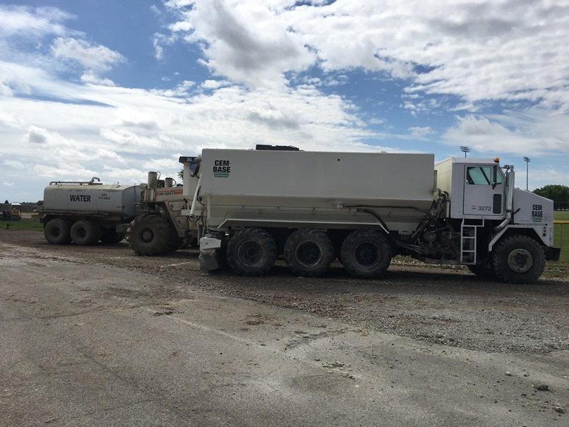 Photo of the Equipment used to do the lime stabilization.