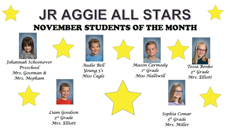 JR. Aggie All Stars, November Students of the Month
