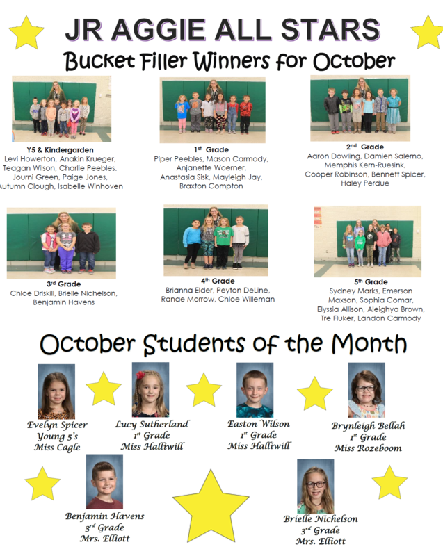 JR. Aggie All Stars, Bucket Filler Winners for October and October Students of the Month