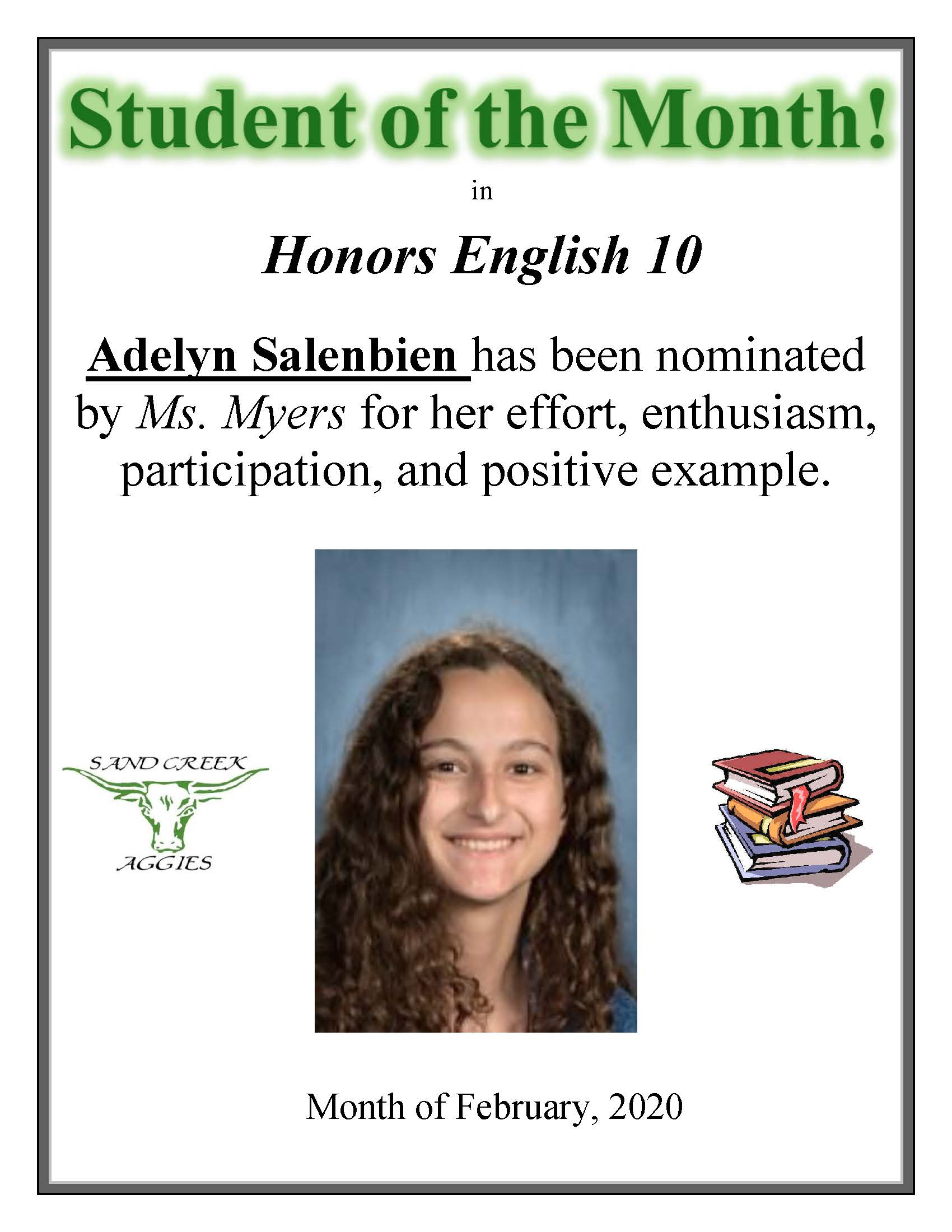 Student nominated for Student of the Month in January 2020.
