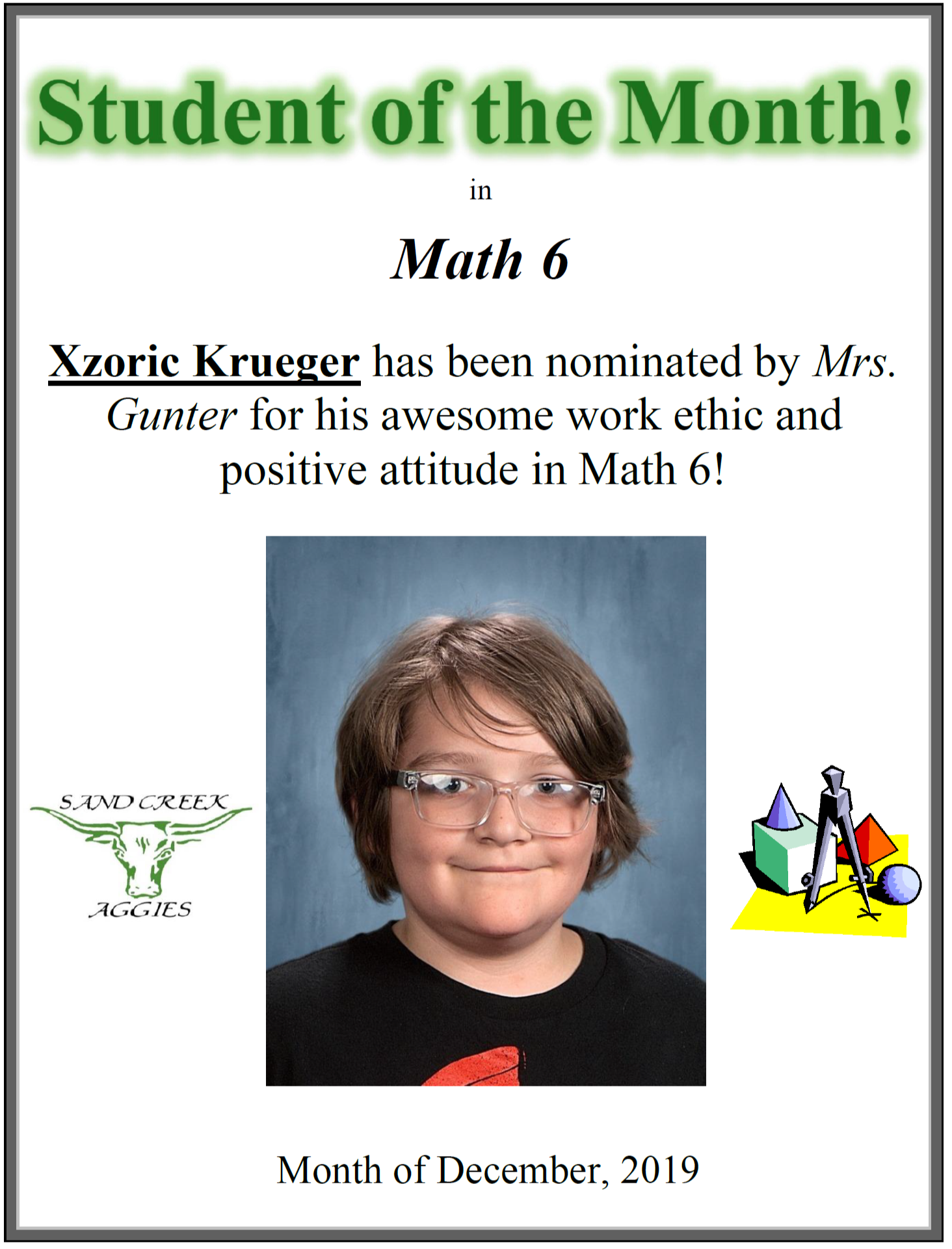Student of the Month for December 2019