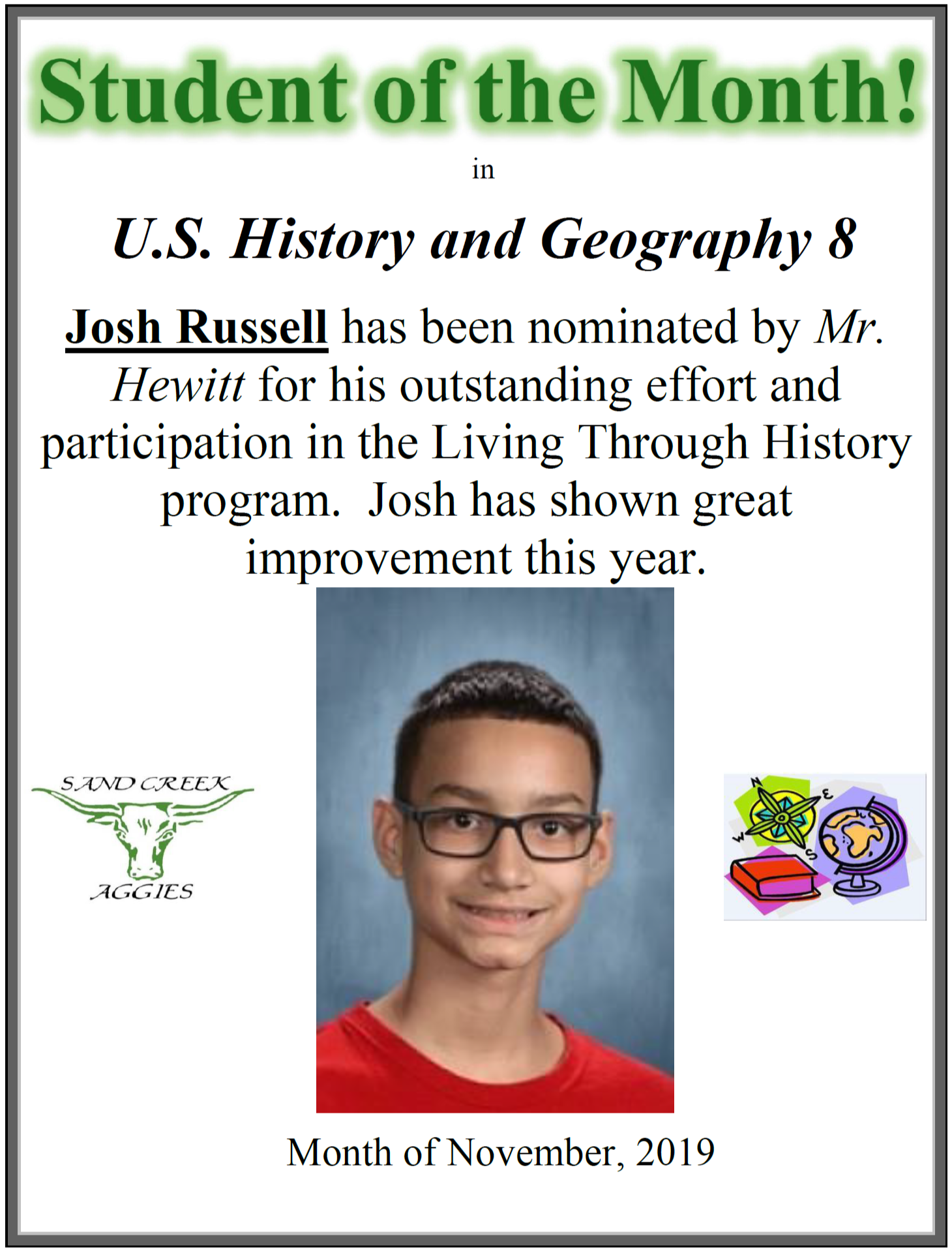 Student of the Month for November 2019