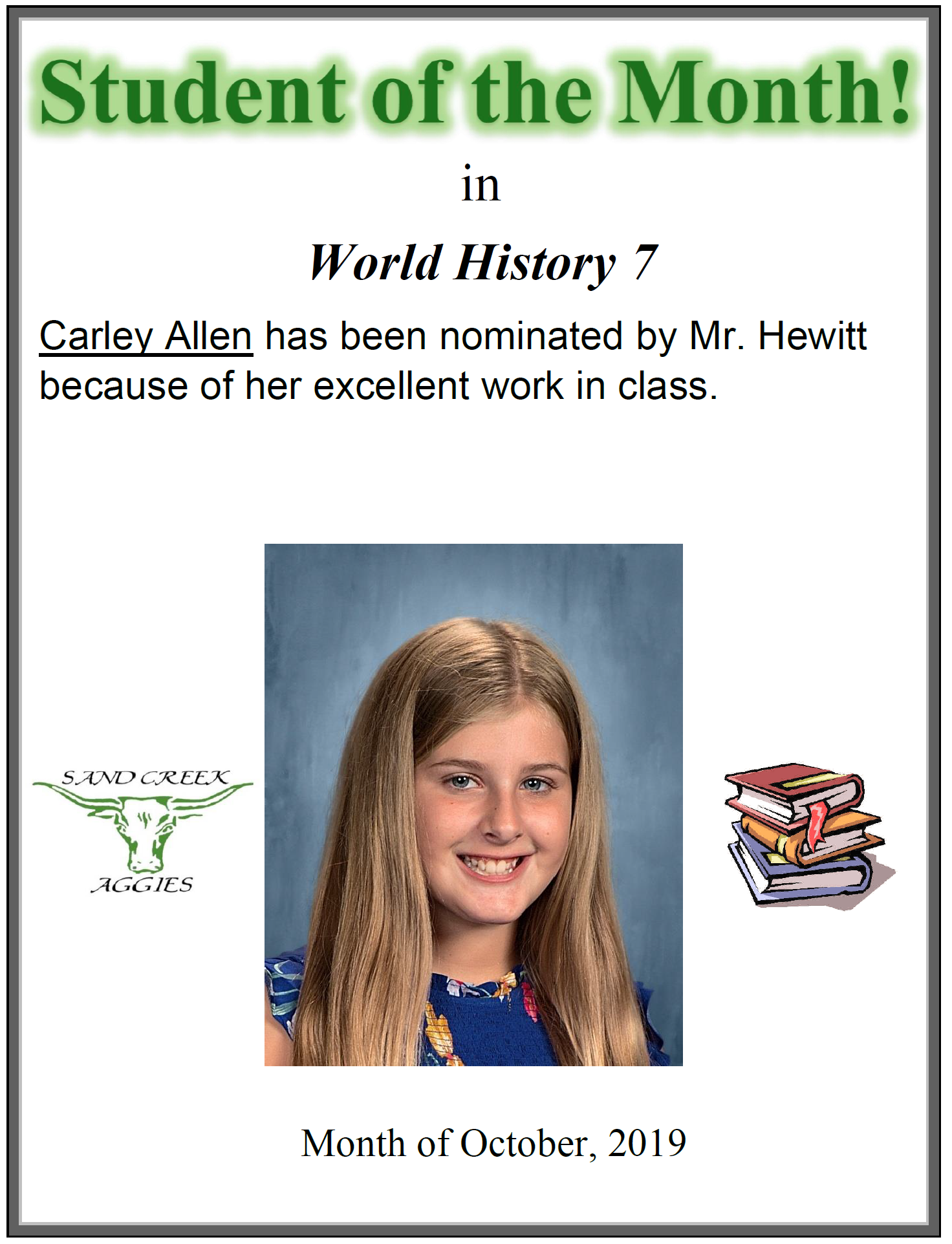 Student of the Month for October 2019