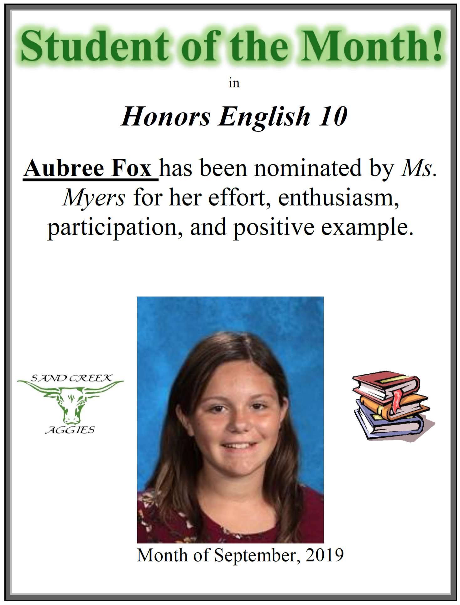 Student of the Month for September 2019