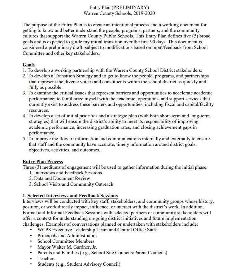 Superintendenr's 90 Day Report Information
