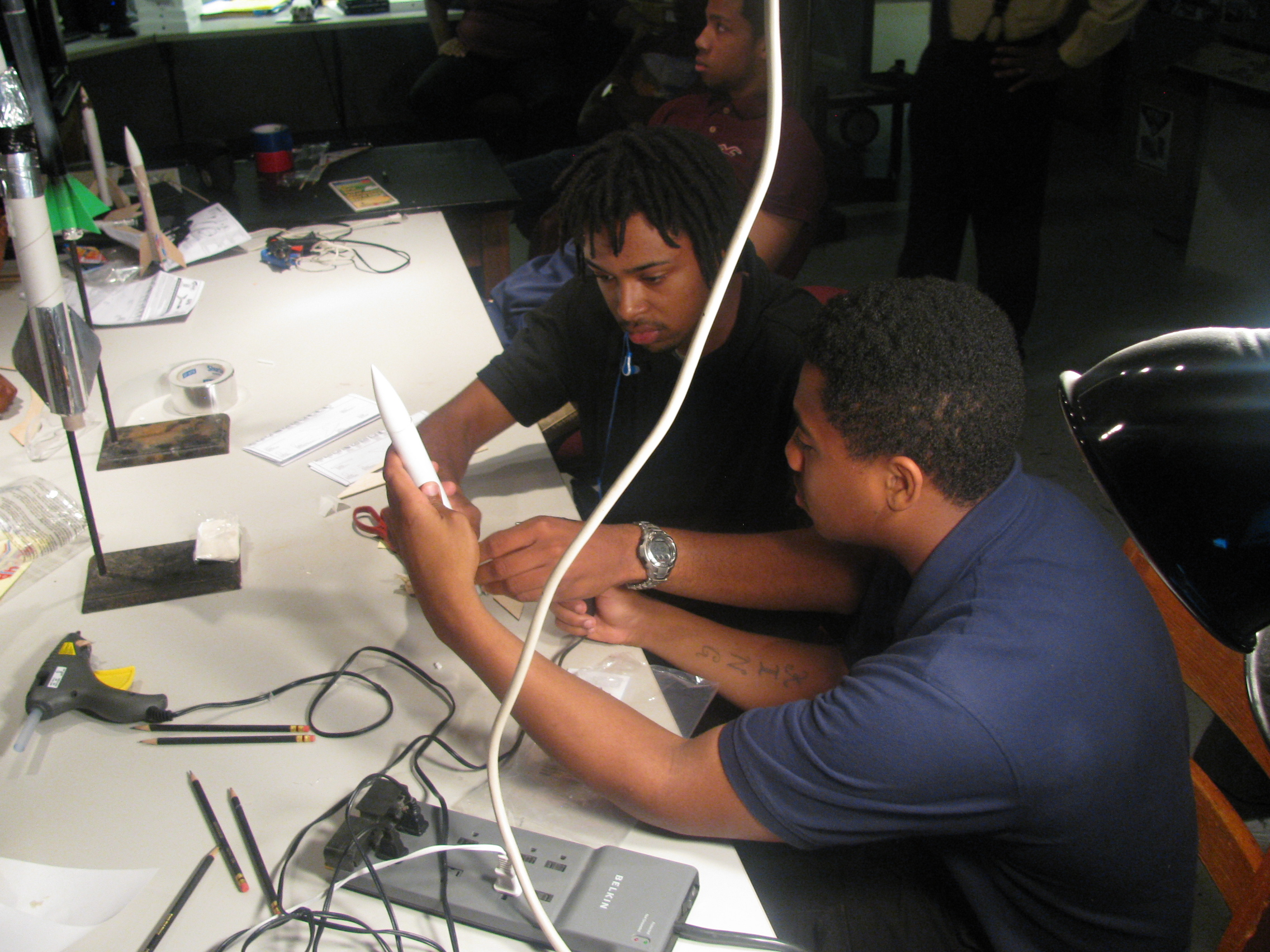 High school students working on a project