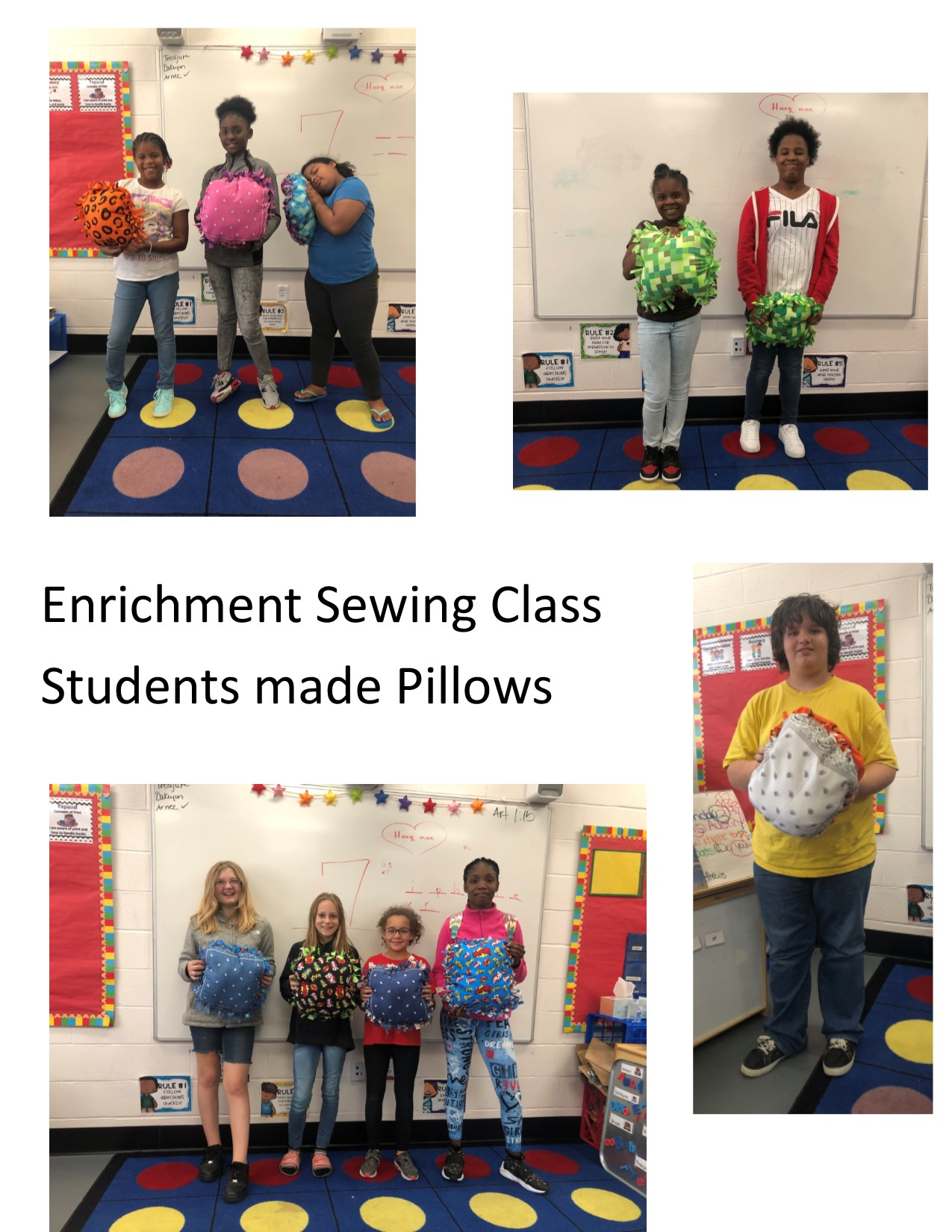 Enrichment Sewing Class Students made Pillows
