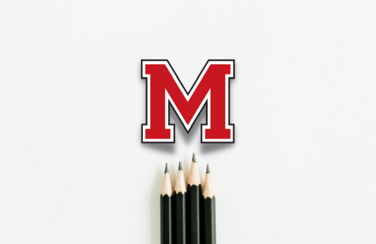 M with pencils logo