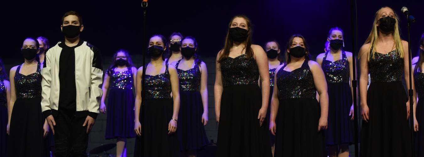 Choir students performing