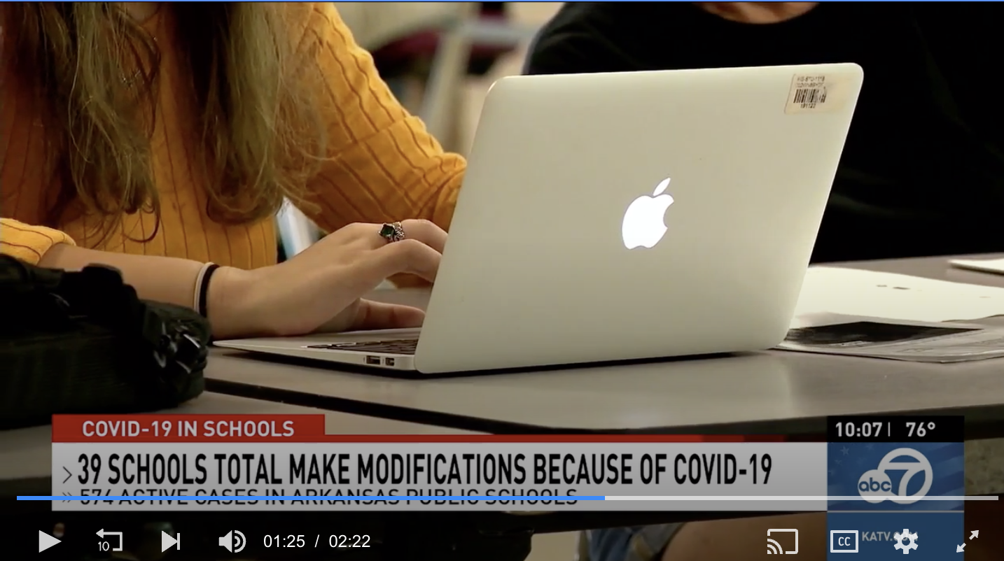 KATV:  574 active COVID-19 cases in public schools; 22 modifications to onsite instruction