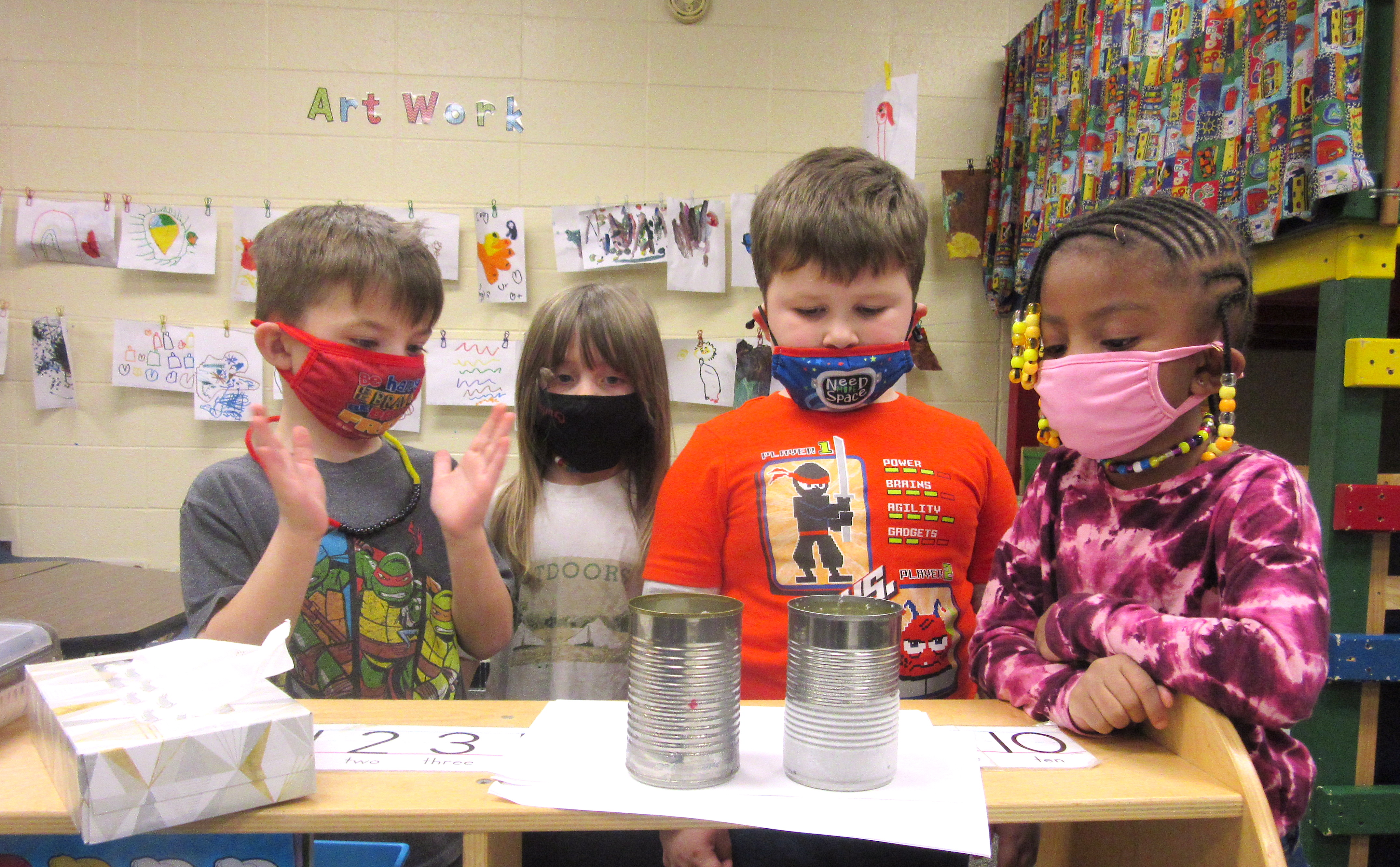 kids with masks on