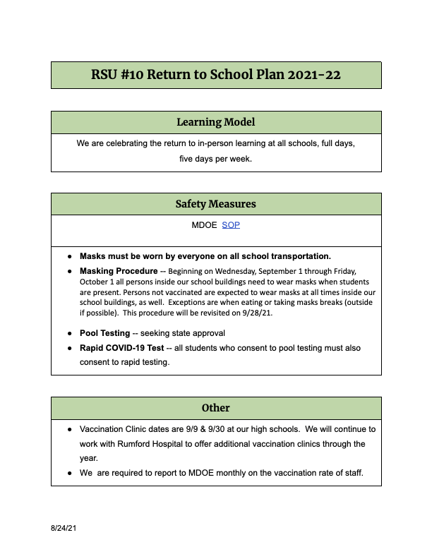 RSU #10 Return to School Plan 2021-22