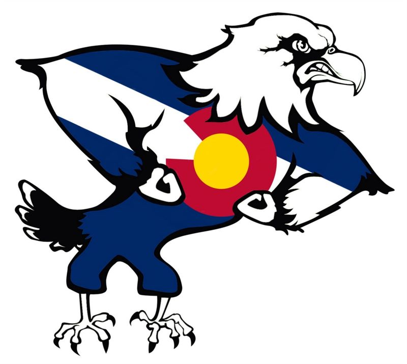 One of the eagles they use as a mascot. It has blue stripes over it's body and a red semi-circle around a yellow circle right at the center of it's chest.