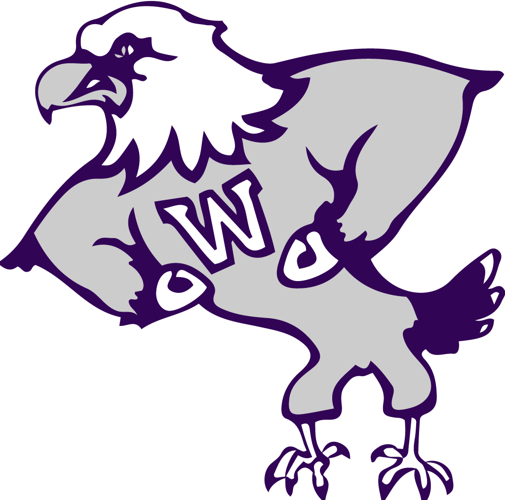 One of the mascot eagles of the school. It's mostly gray with white over the beak and has a big bolded W over his chest.