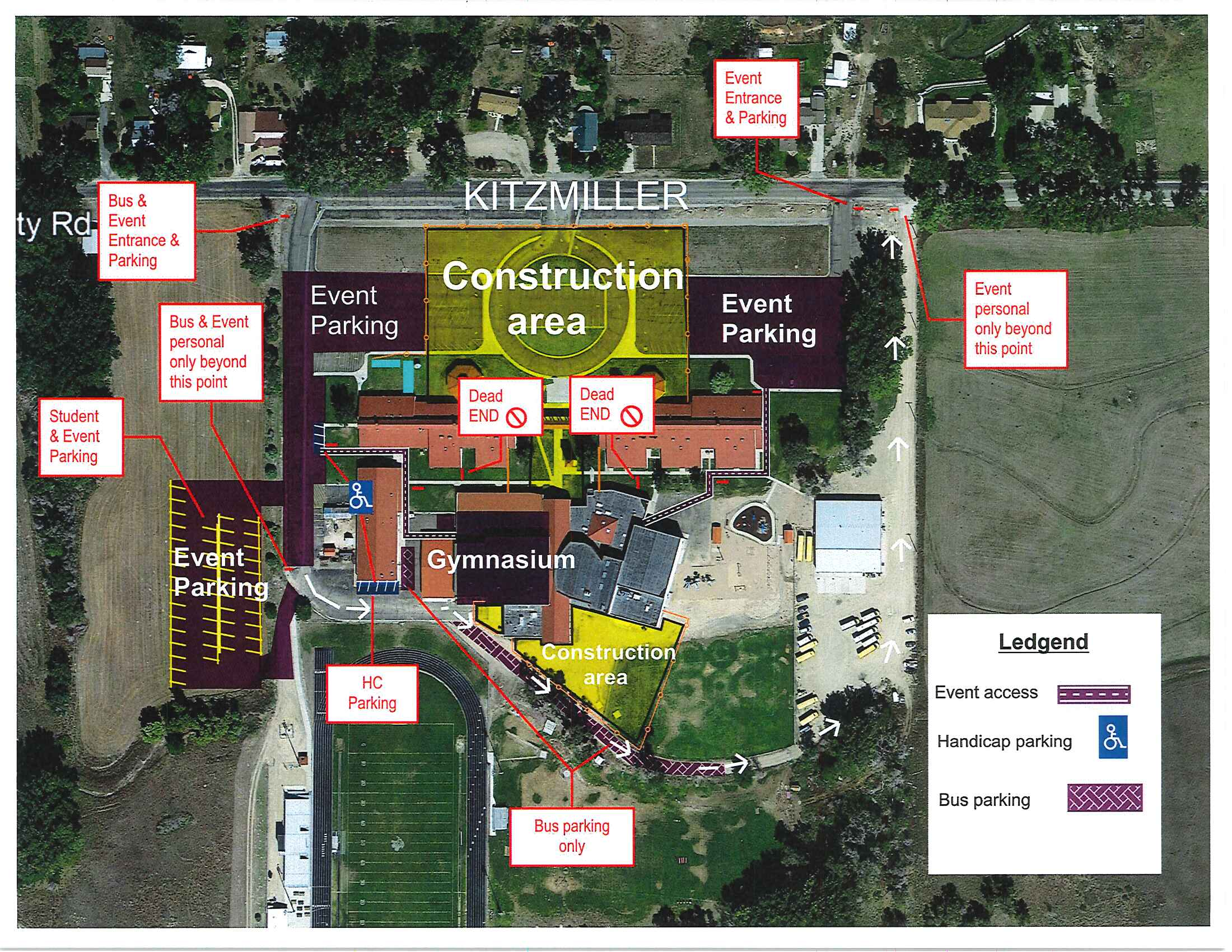 Photo of the school's ground and pointing towards where the construction area is taking place.