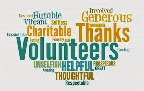 A heart made up with words such as Volunteers, Thanks, Generous, Helpful, Thoughtful, Humble and such