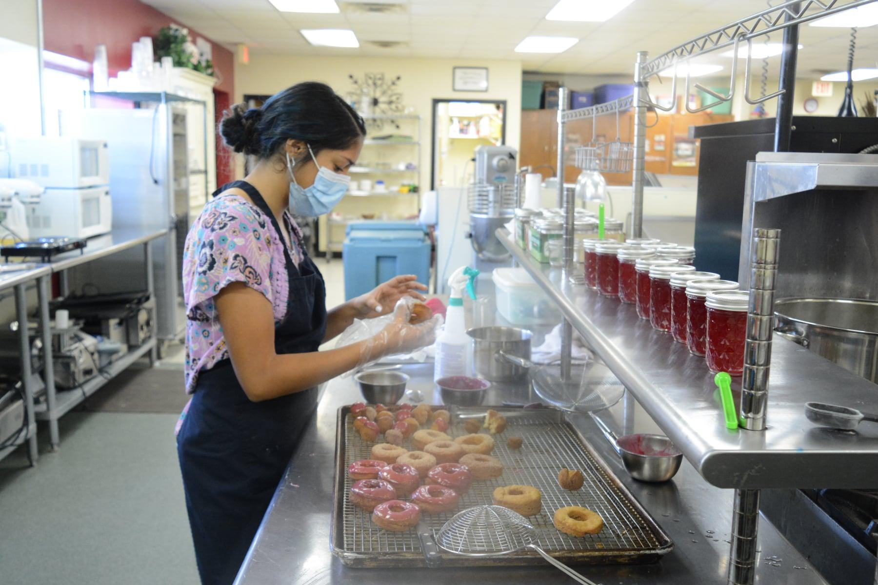 Culinary Arts student baking