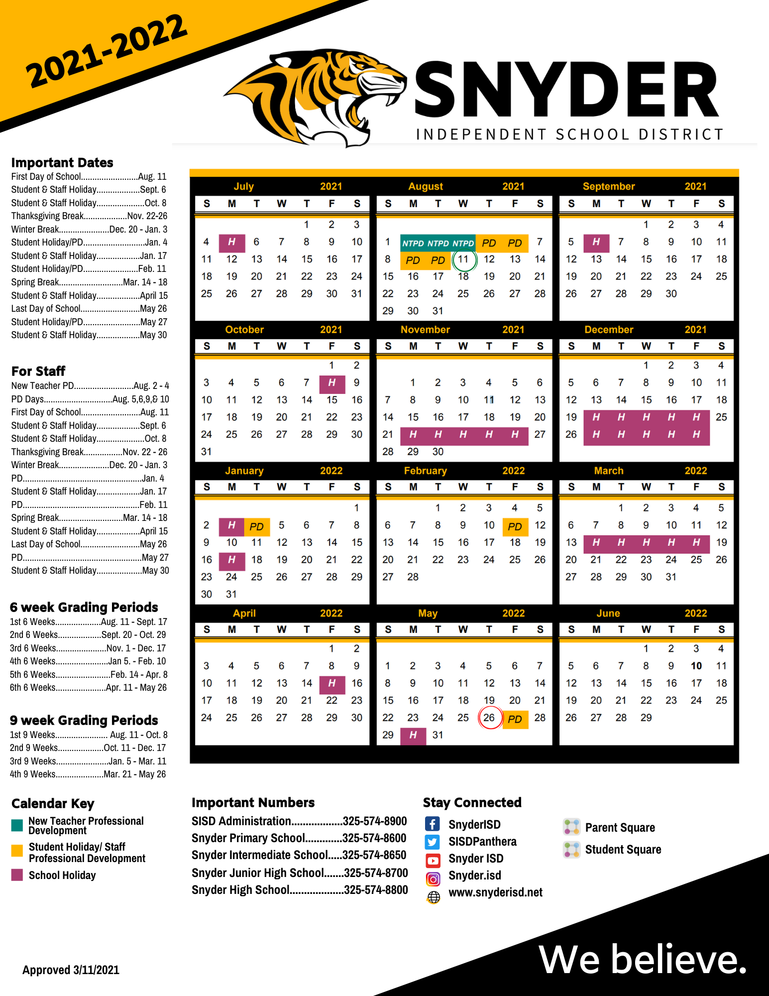 Cms Calendar 2022.2021 2022 District Calendar Snyder Isd