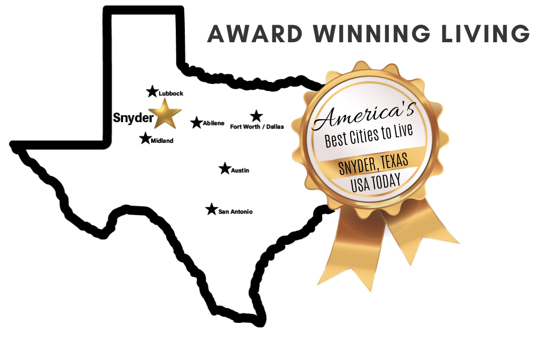 Texas map showing Snyder's central location in Texas and award of best cities to live in.