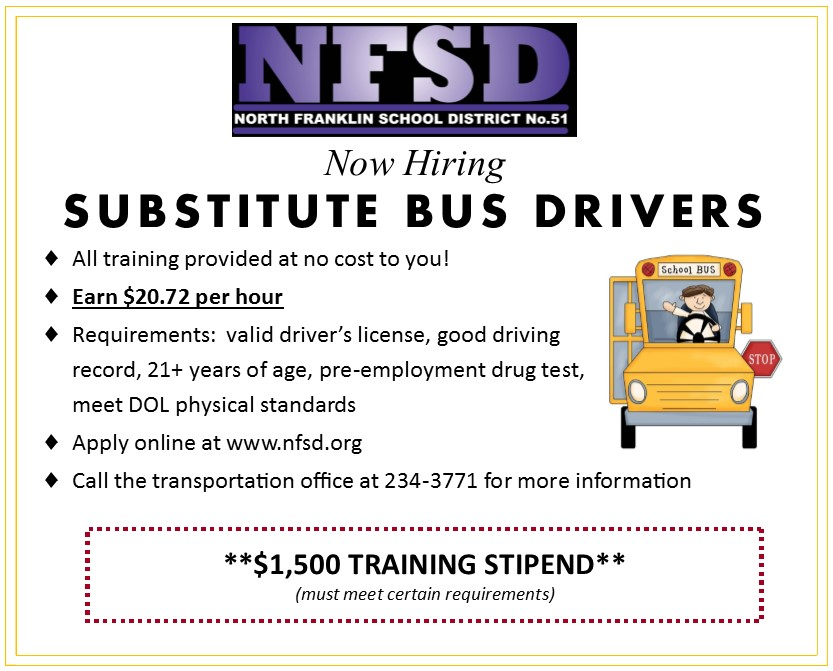 Now Hiring - Substitute Bus Drivers