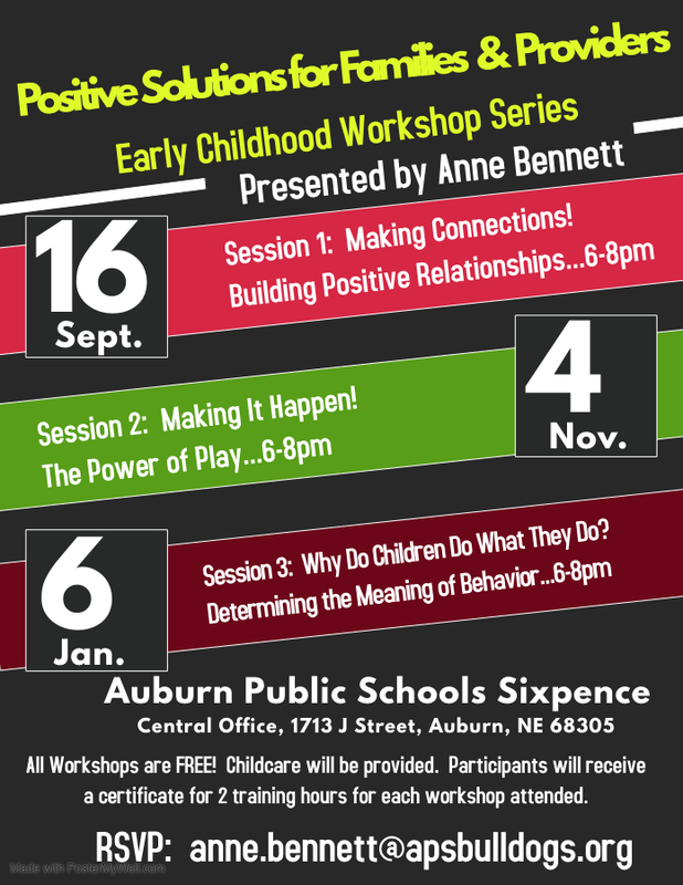 Positive Solutions for Families & Providers, Early Childhood Workshop Series