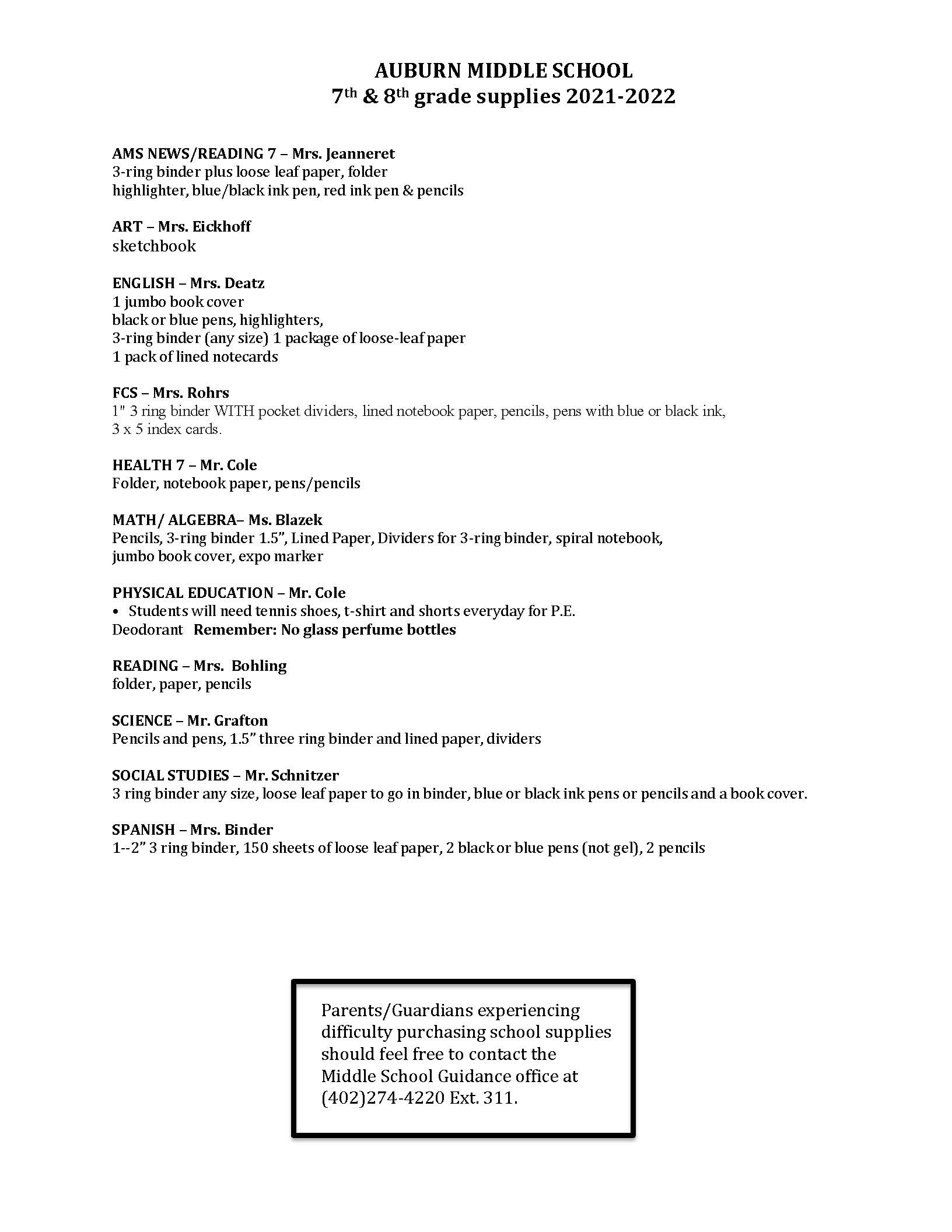Auburn Middle School 6th Grade Supply List 2021-2022