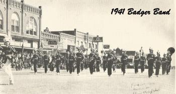 1941 Badgers Band marching on a town's festival.