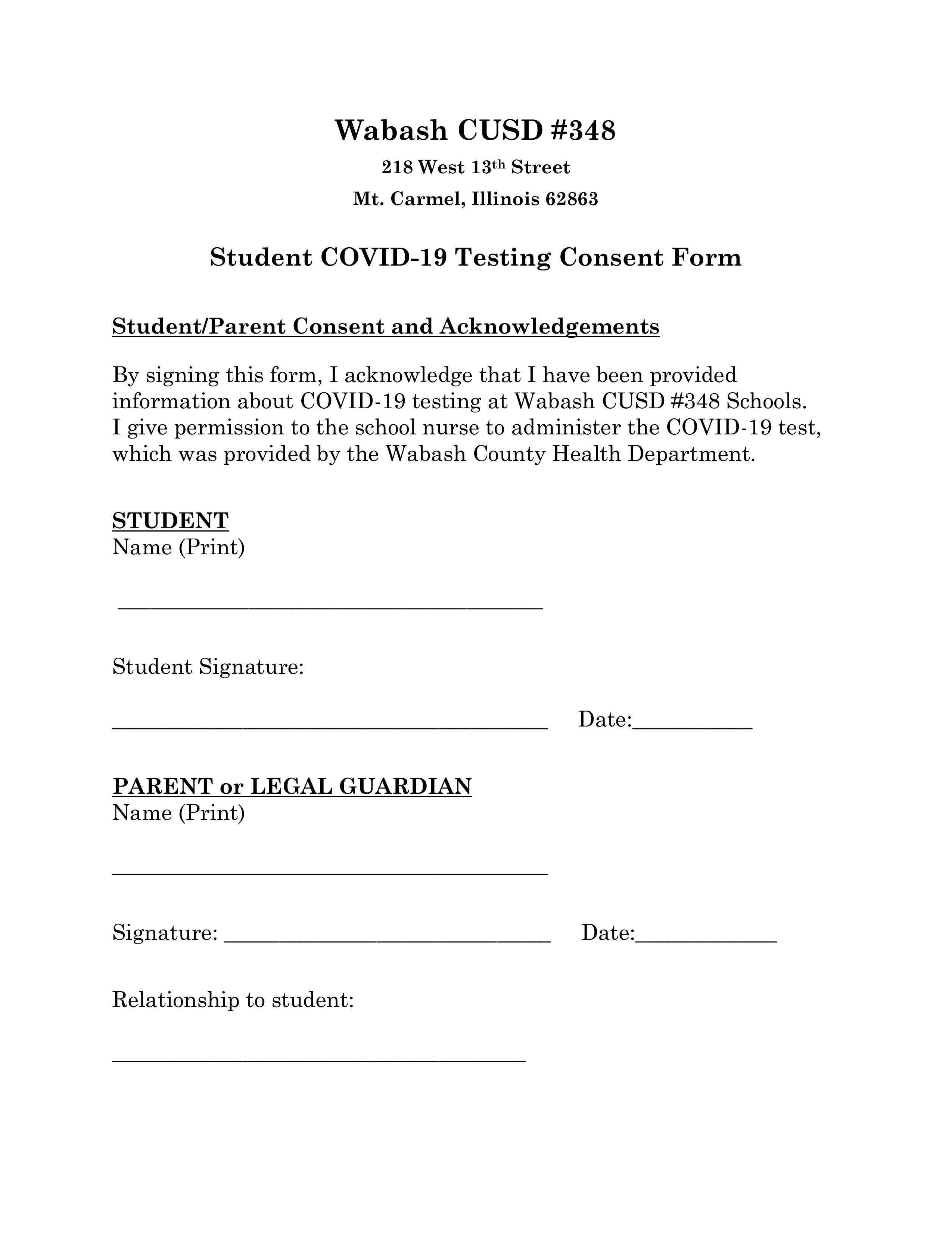 Consent for covid 19 testing