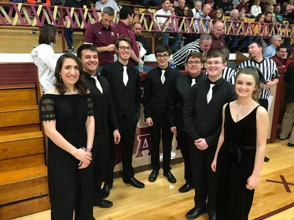Photo of the elite group of 7 Mount Carmel High School singers.