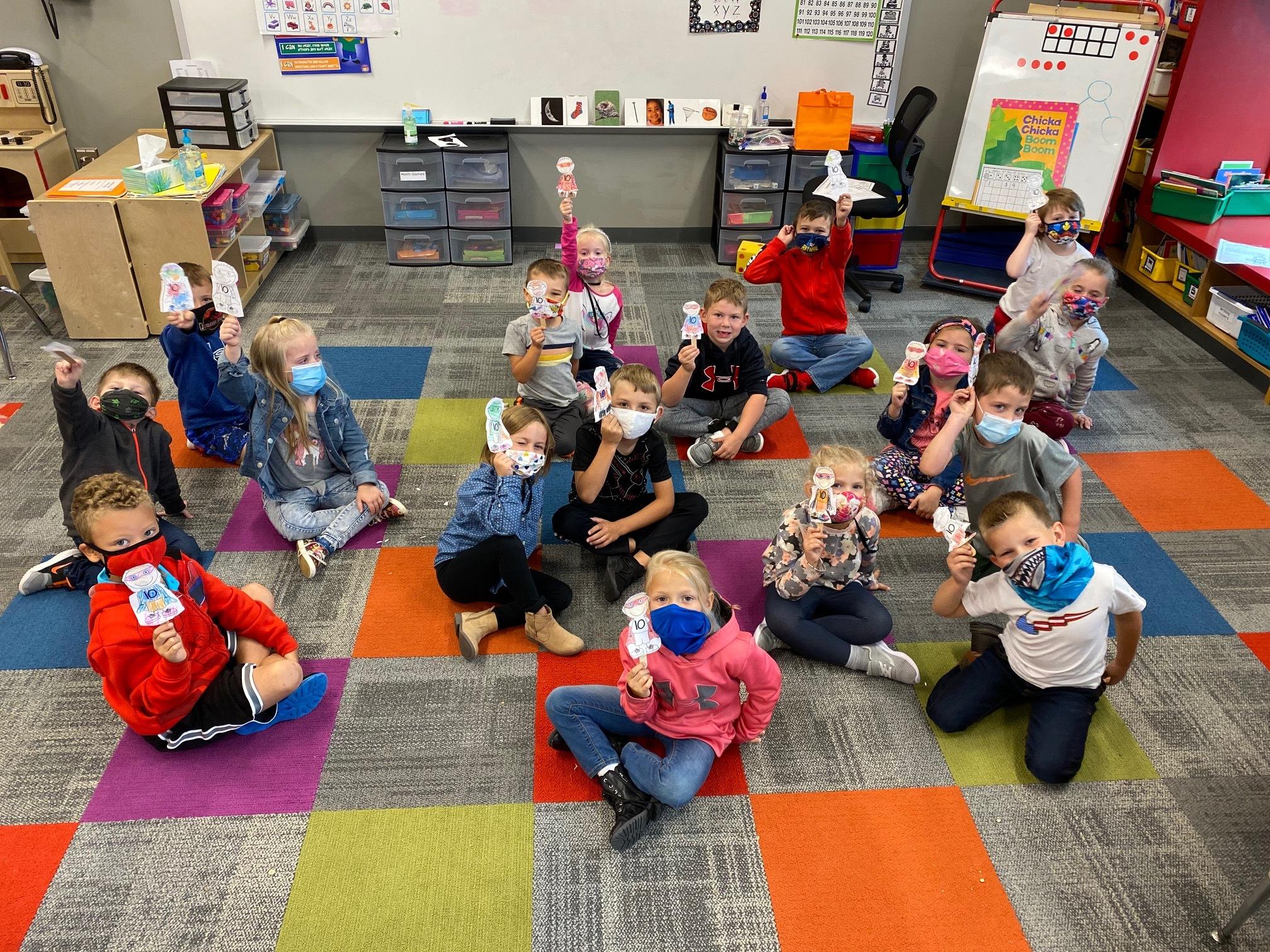 Students celebrate with Zero the Hero!