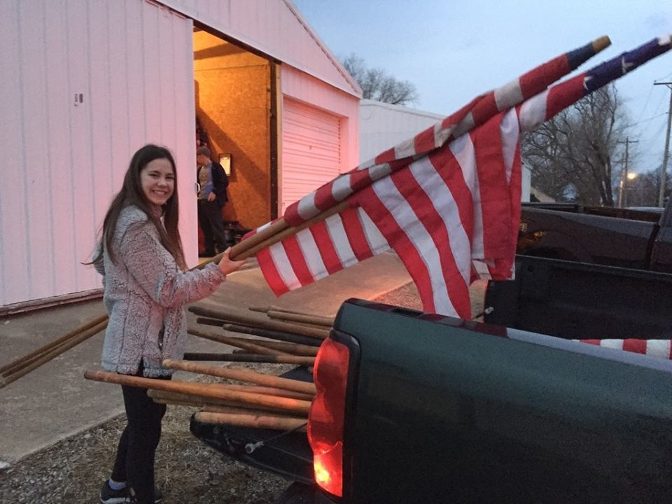 Key Club members were up bright and early on Presidents' Day to assist the city with flags!