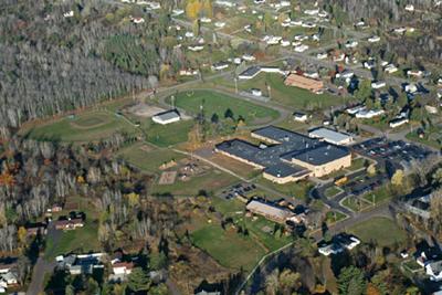 An aerial photo of Baraga Area Schools.