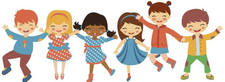 Drawing of kids smiling and jumping