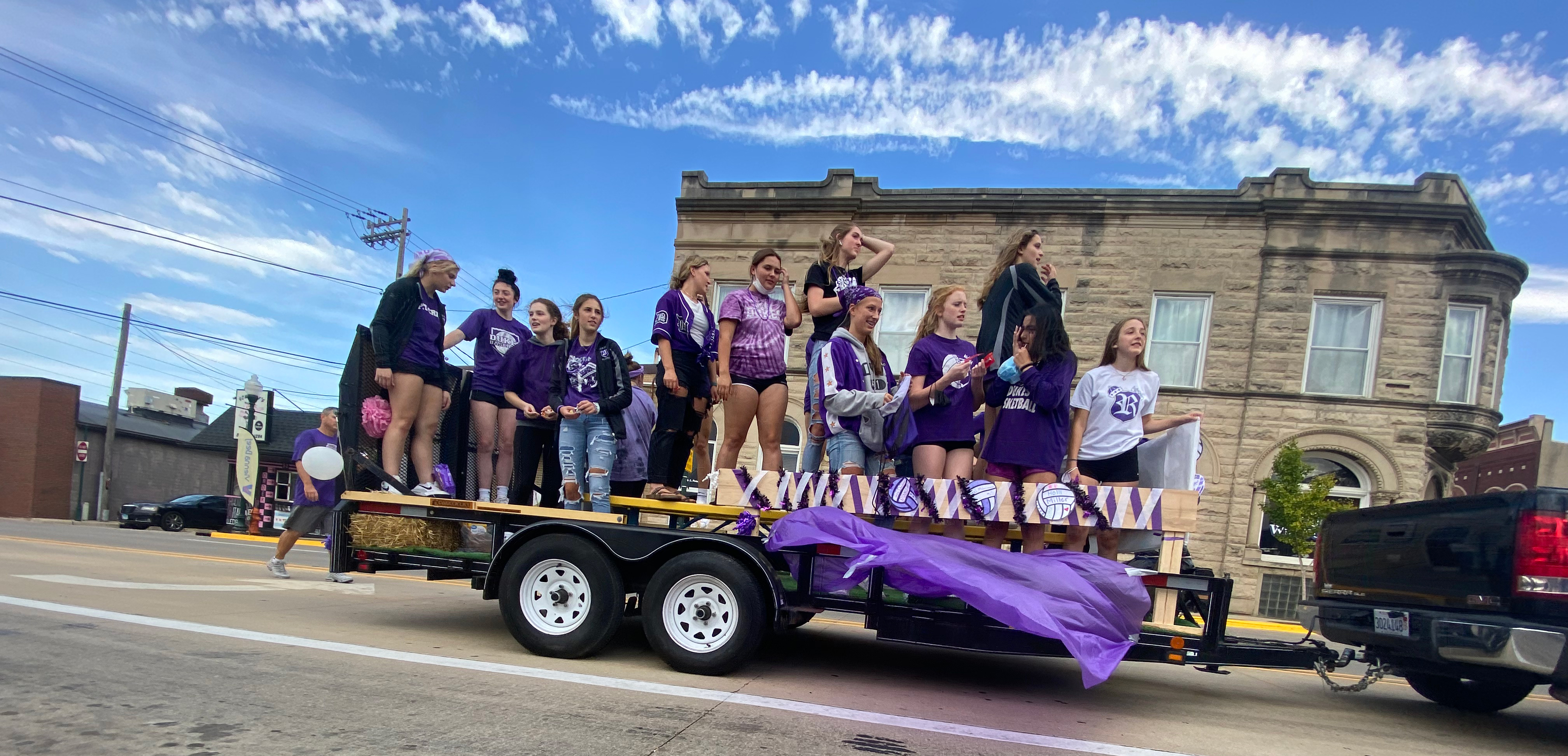 Volleyball float in homecoming parade