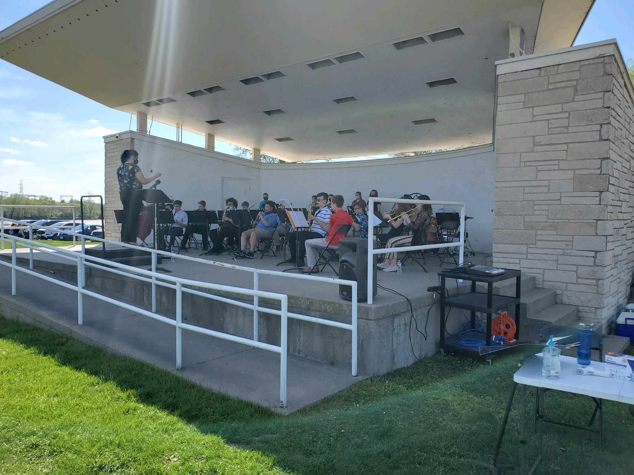 RMS band performing at band shell