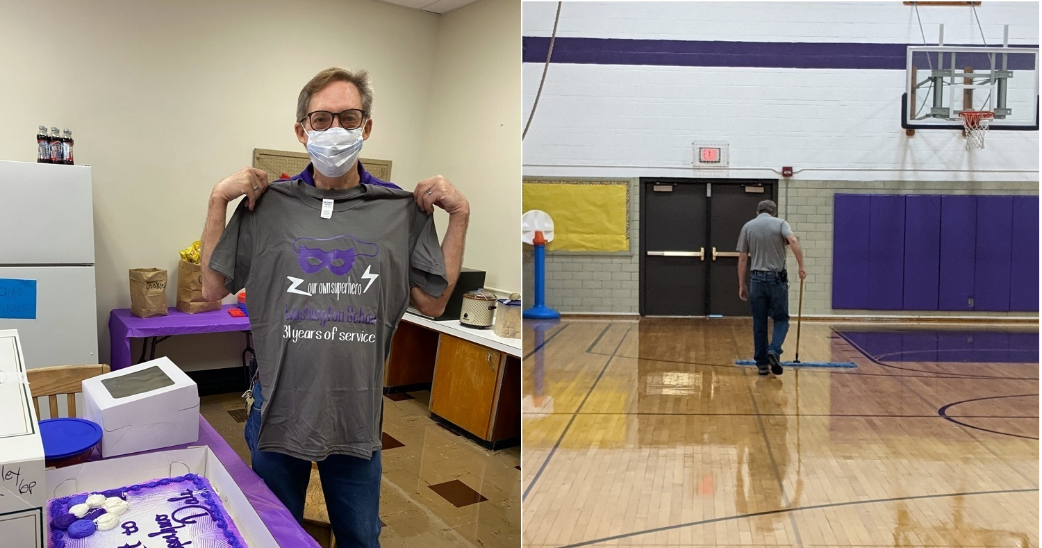 Photos of Dale H. sweeping and showing off his new shirt